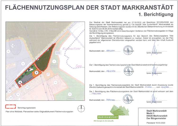 """Mit einem Klick auf die Grafik gelangen Sie zum Flächennutzungsplan für das Baugebiet """"Alte Zuckerfabrik"""" auf der Webseite der Stadt Markranstädt."""