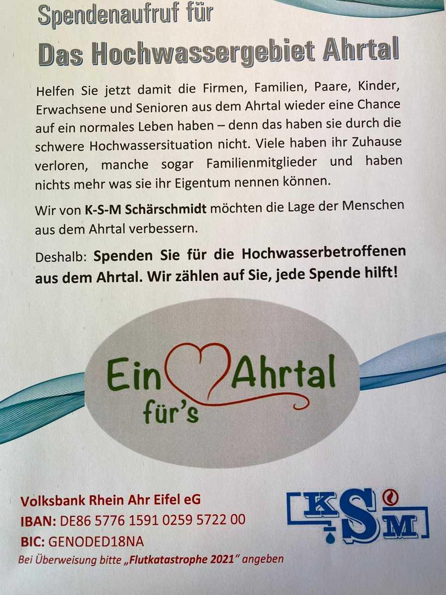 Aufruf zur KSM-Spendenaktion, der inzwischen deutschlandweit Verbreitung findet.